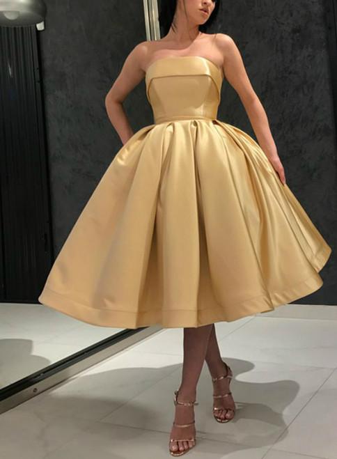 Gold Ball Gown Satin Strapless Tea Length Homecoming Dress