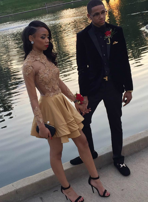 Champagne Satin Gold Appliques High Neck Long Sleeve Homecoming Dress