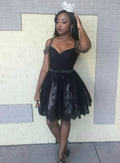 Black Spaghetti Straps Tulle Lace Beading Homecoming Dress