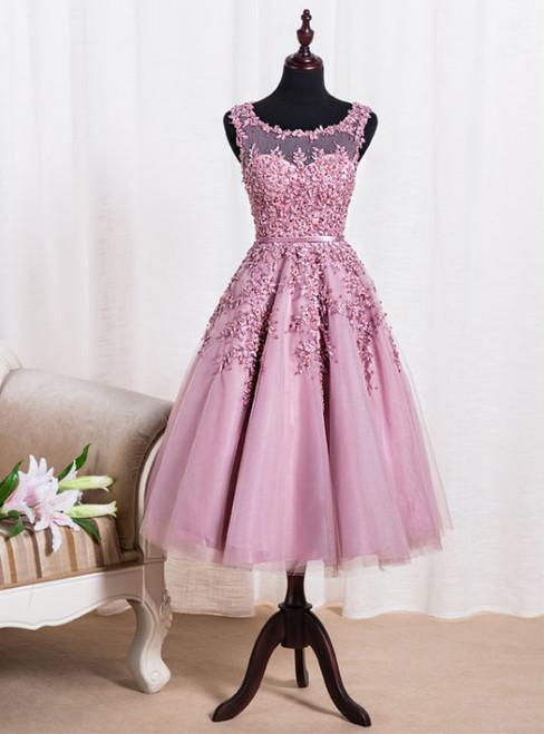 Elegant Scoop Tea Length School Homecoming Dresses Appliques