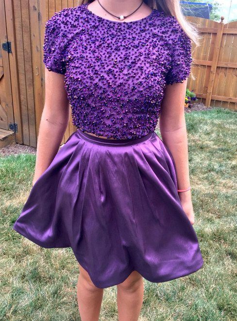 Purple Two Piece Satin Short Sleeve Backless Homecoming Dress