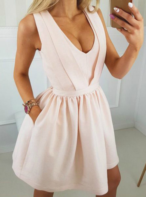 A-Line Pink Deep V-neck Backless With Pocket Homecoming Dress
