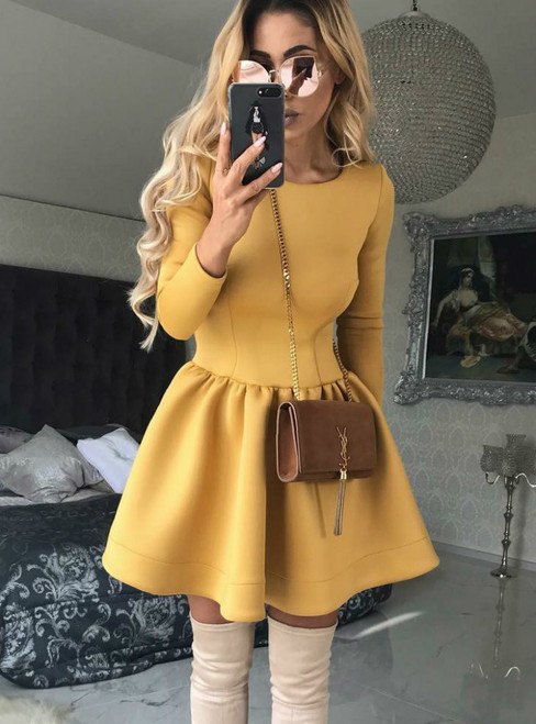 A-Line Scoop Neck Yellow Satin Long Sleeve Homecoming Dress