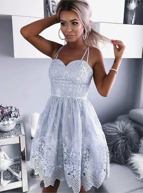 A-Line Blue Spaghetti Straps Knee Length Lace Homecoming Dress