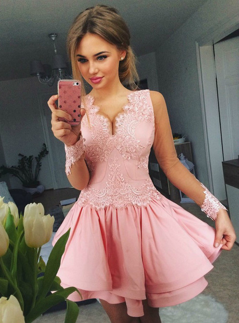 A-Line V-Neck Tiered Pink Satin Long Sleeve Homecoming Dress