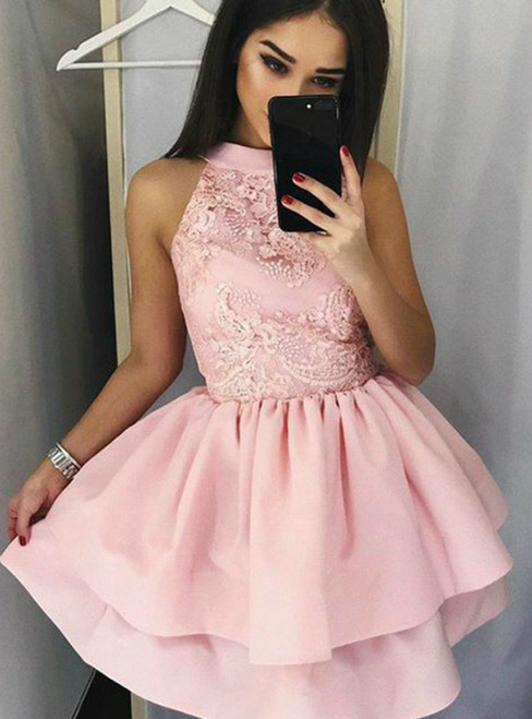 A Line Halter Satin Knee Length Lace Appliques Homecoming Dress