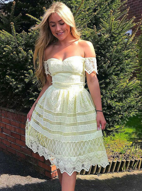 A-Line Yellow Lace Off The Shoulder Knee Length Homecoming Dress