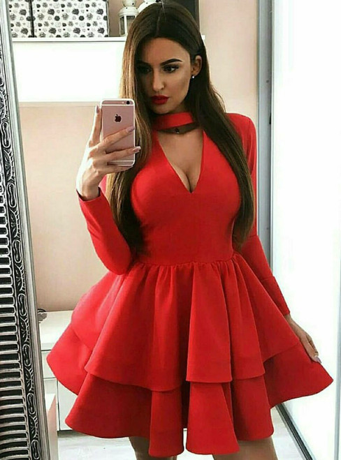 A-Line Red Satin Long Sleeve V-neck Mini Homecoming Dress