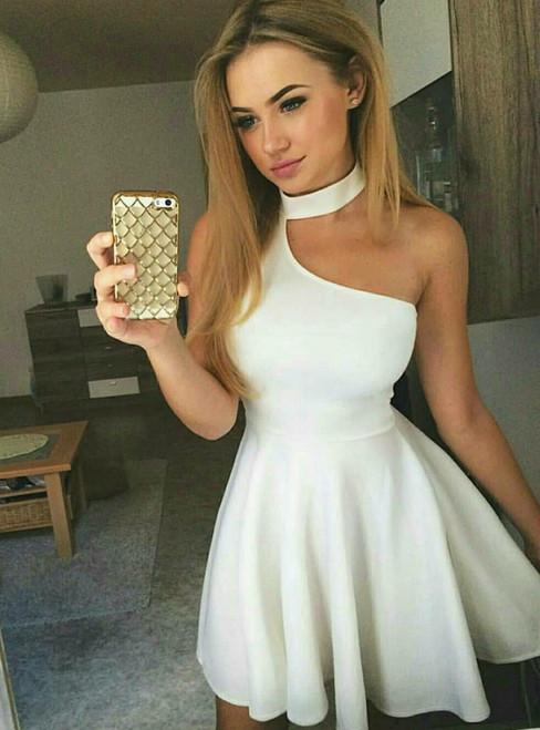 A-Line Halter White Satin Sleeveless Short Homecoming Dress