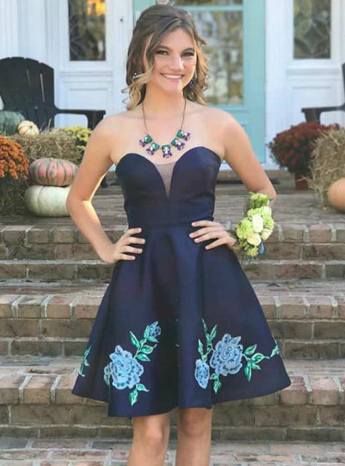 Navy Blue Sweetheart Satin Homecoming With Appliques Pockets
