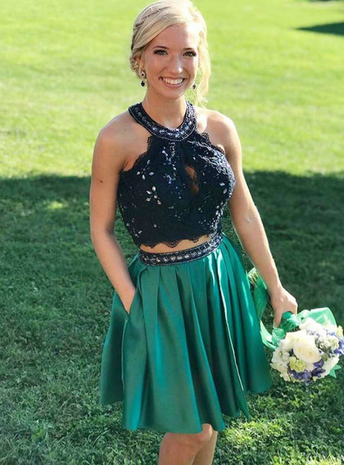 Green Satin Lace Halter Beading Two Piece With Pockets Homecoming Dress