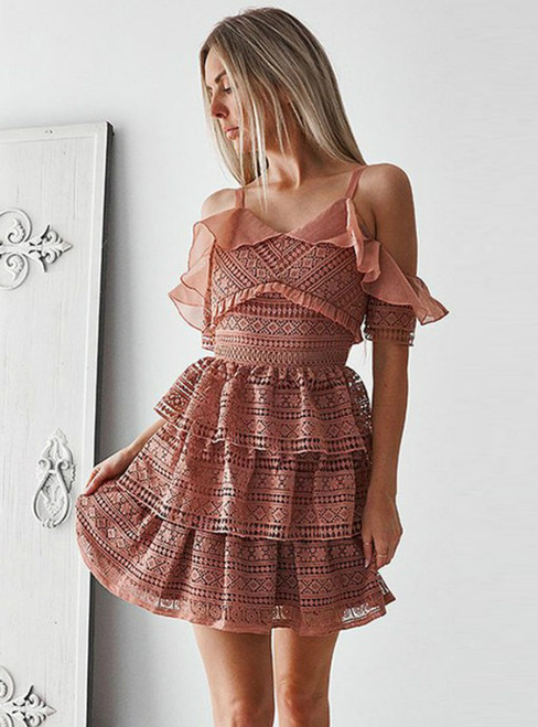 Pink Spaghetti Straps Backless Mini Tiered Homecoming Dress