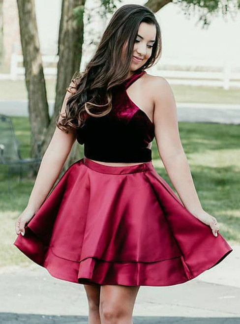 Burgundy Two Piece Satin Halter Cut Out Homecoming Dress