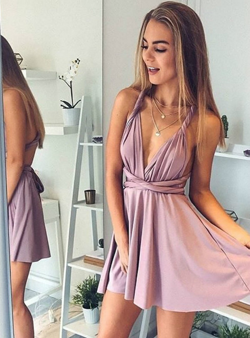A Line Deep V-Neck Blush Backless Convertible Mini Homecoming Dress