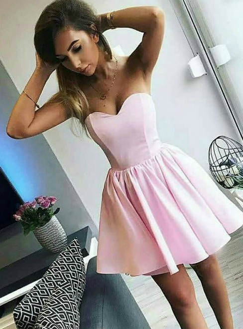 A-Line Sweetheart Neck Pink Satin Short Homecoming Dress