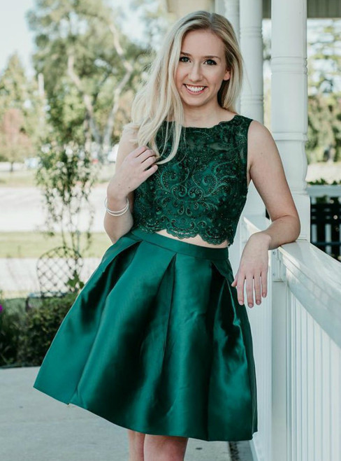Two Piece Dark Green Satin Homecoming Dress With Lace Beading