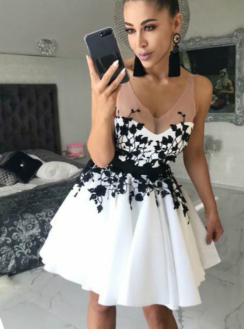 A Line Scoop Short White Satin Black Appliques Homecoming Dress