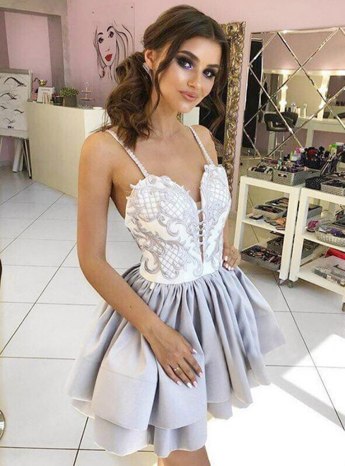 A Line Appliques Spaghetti Straps Tiered Grey Homecoming Dress