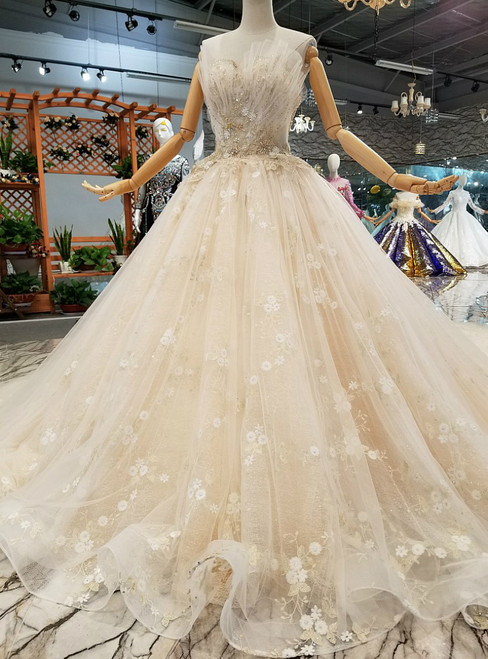 Champagne Ball Gown Sweetheart Tulle Appliques Wedding Dress