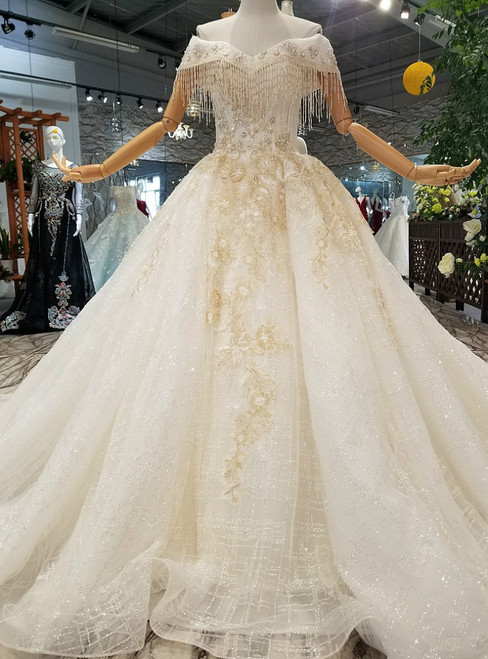 White Ball Gown Tulle Sequins Off The Shoulder Appliques Wedding Dress