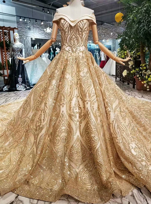 Ball Gown Gold Sequins Off The Shoulder Long Train Wedding Dress