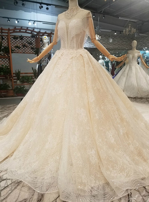 Champagne Ball Gown Tulle High Neck Backless With Beading Wedding Dress