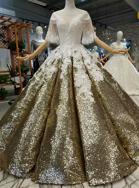 Gold Ball Gown Sequins White Appliques Off The Shoulder Wedding Dress