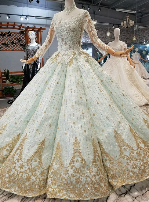 Blue Ball Gown Long Sleeve High Neck Backless Gold Appliques Wedding Dress