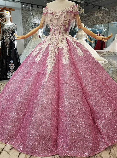 Pink Ball Gown Sequins Off The Shoulder Appliques Backless Wedding Dress