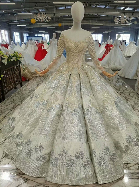 Gold Ball Gown Sequins Long Sleeve Backless Appliques Beading Wedding Dress