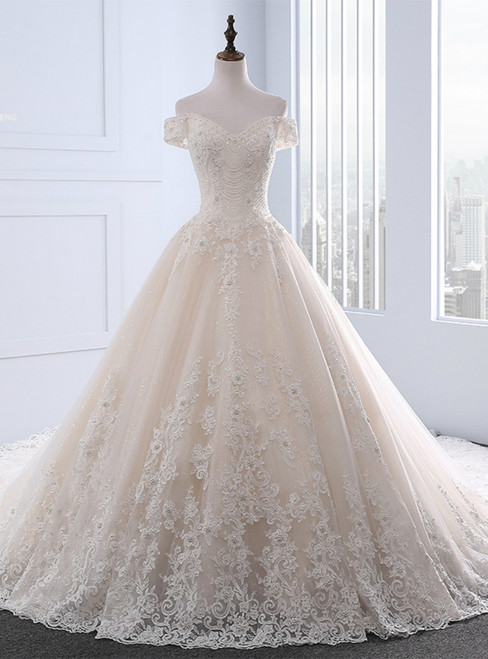 Champagne Ball Gown Tulle Appliques Off The Shoulder Wedding Dress