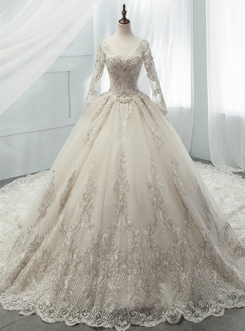 Light Champagne Tulle Appliques Long Sleeve Backless Beading Wedding Dress