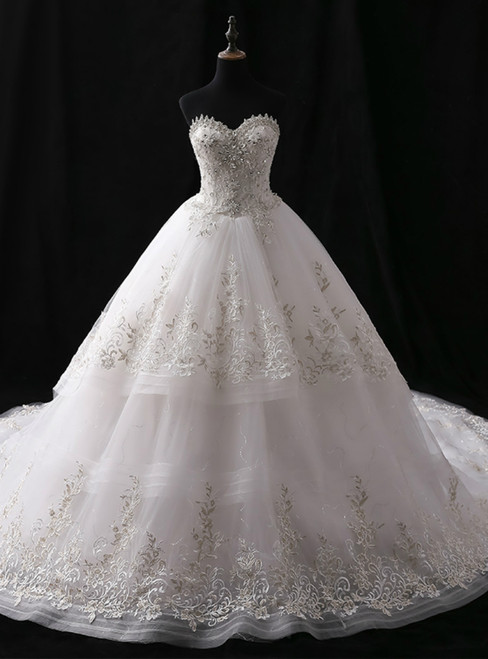 White Ball Gown Tulle Sweetheart Train With Crystal Wedding Dress