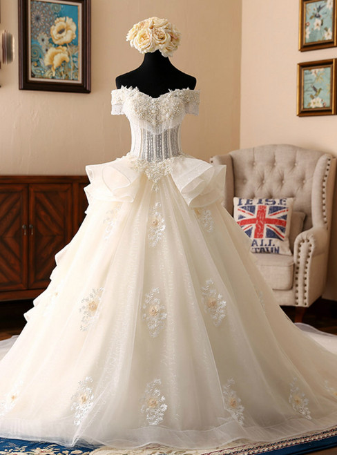 Light Champagne Ball Gown Tulle Off The Shoulder With Pearls Wedding Dress
