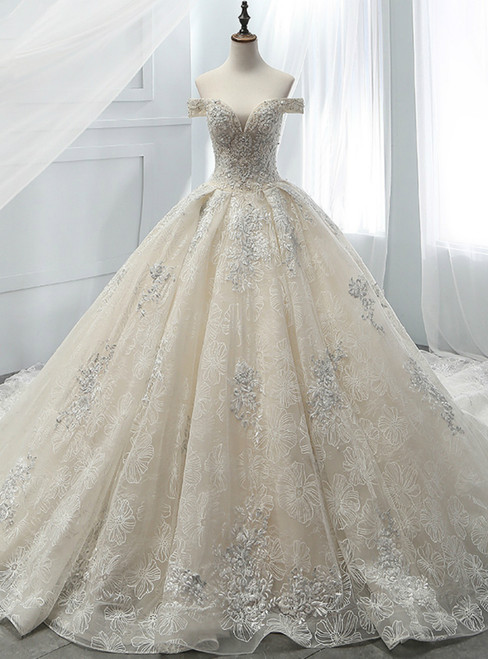Champagne Ball Gown Tulle Appliques With Beading Off The Shoulder Wedding Dress