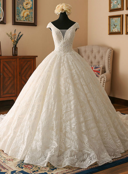 Light Champagne Ball Gown V-neck Backless Lace Wedding Dress