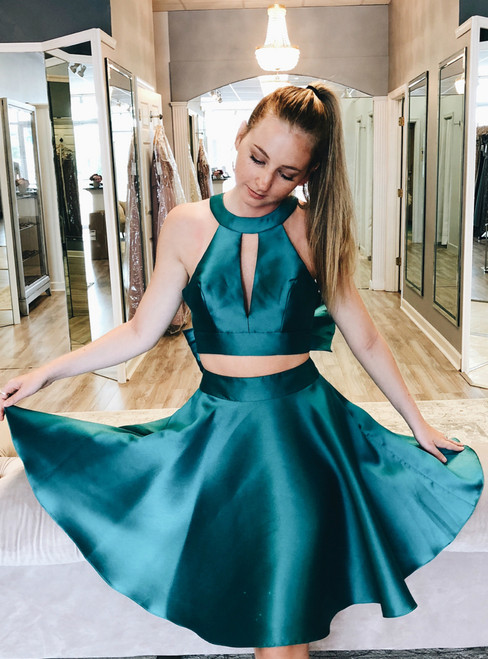 Green Two Piece Satin Halter Backless With Bow Homecoming Dress