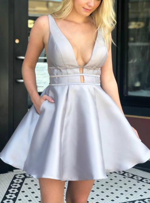 Simple Plunge  Blue Satin Deep V-neck Backless Homecoming Dress