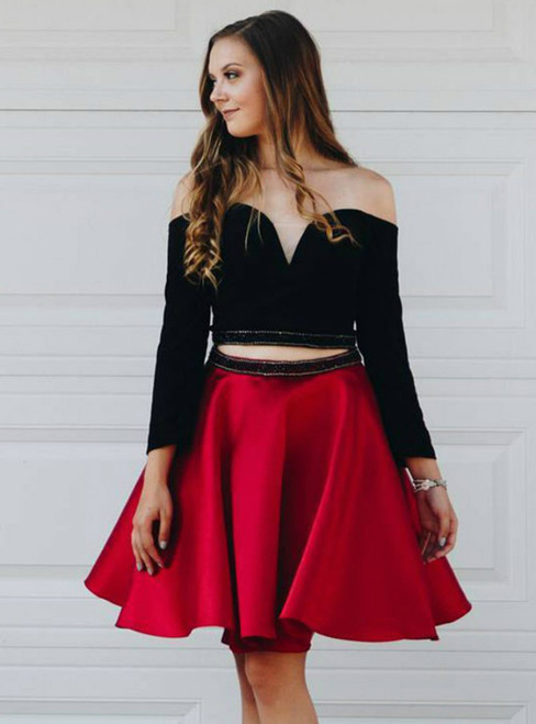 Two Piece Off The Shoulder Red Satin Long Sleeves Homecoming Dress