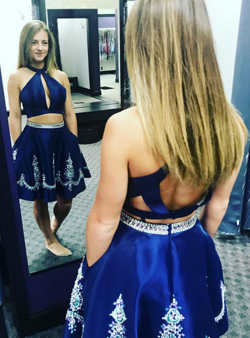 Blue Two Piece With Keyhole Beading Pockets Homecoming Dress