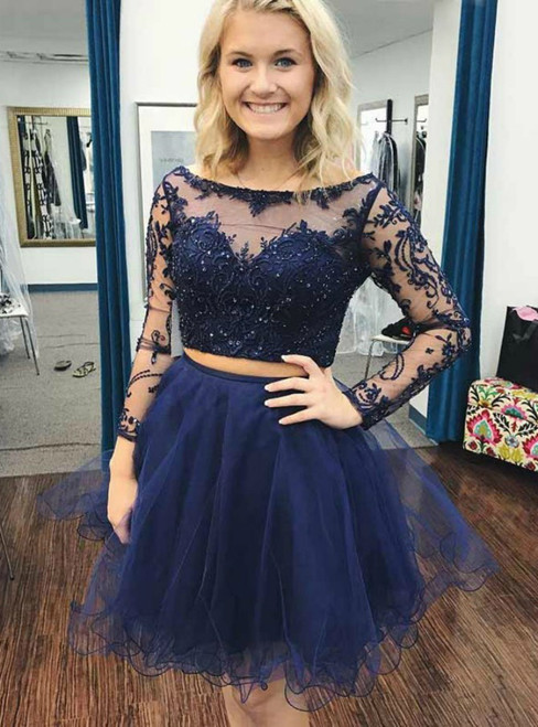 Two Piece Blue Tulle Appliques Beading Long Sleeve Homecoming Dress