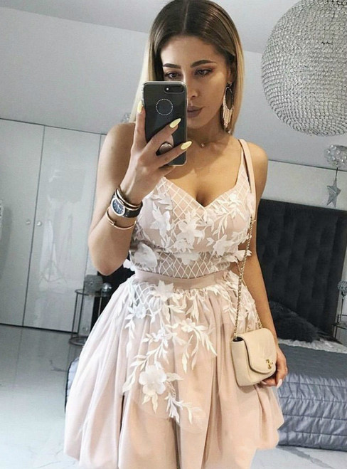 A Line Straps Pink Satin Appliques Homecoming Dress