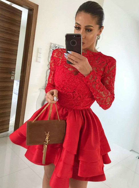 A Line Scalloped-Edge Tiered Red Lace Long Sleeve Homecoming Dress