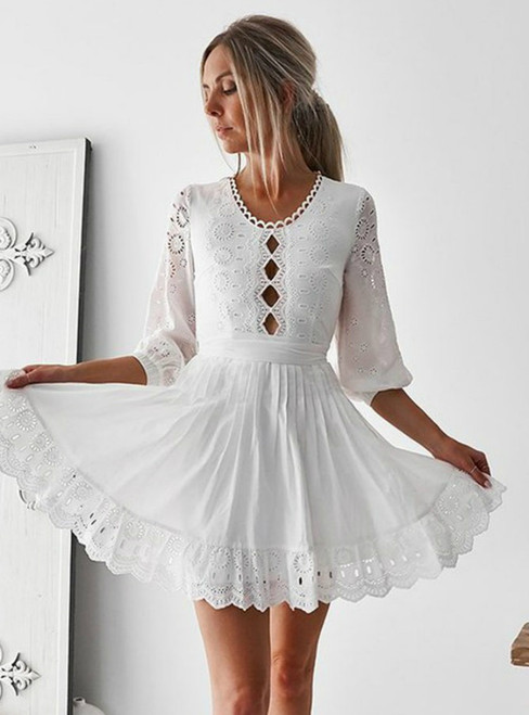 A-Line 3/4 Sleeves White Lace Homecoming Dress With Keyhole
