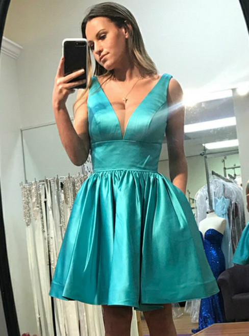 A Line V Neck Turquoise Satin Homecoming Dress With Pockets