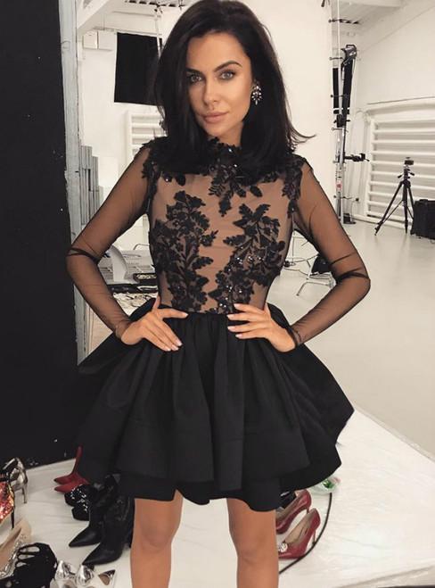 A-line Black Satin Appliques Long Sleeve Short Homecoming Dress