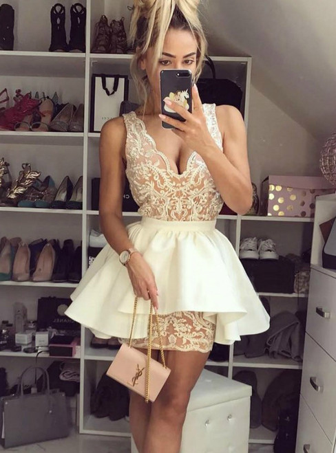 A Line Champagne Lace Homecoming Dress With Detachable Train