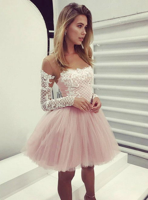 A Line Pink Short Long Sleeves Homecoming Dress With Appliques