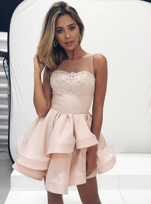 A Line Tiered Pink Satin Short Lace Homecoming Dress