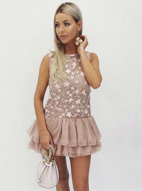 A Line Tiered Blush Lace Appliques Backless Homecoming Dress